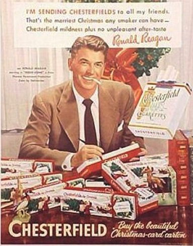Ronald Reagan dans une publicité des cigarettes Chesterfield